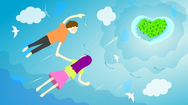 tanabata飛行男女愛島 插畫素材
