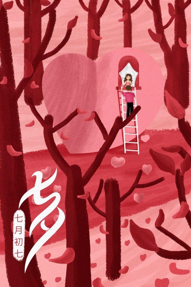 tanabata ilustração amor romântico Material de ilustração Imagens de ilustração