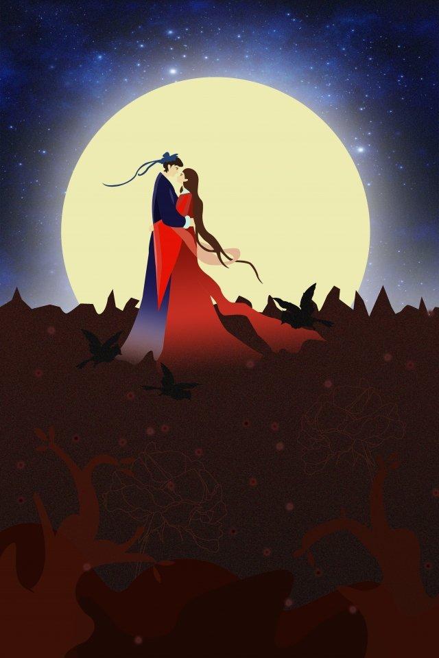 A menina do tecelão de Qixi Niu Lang encontra o ilustrador Tanabata Noite Romântico AmorA  Menina  Do PNG E PSD illustration image