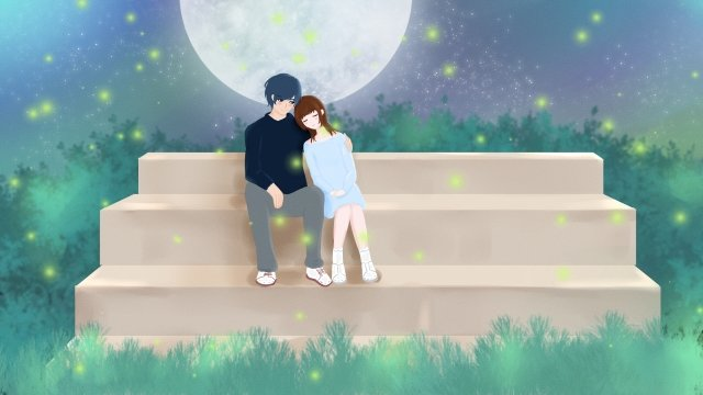 tanabata romantic love love llustration image