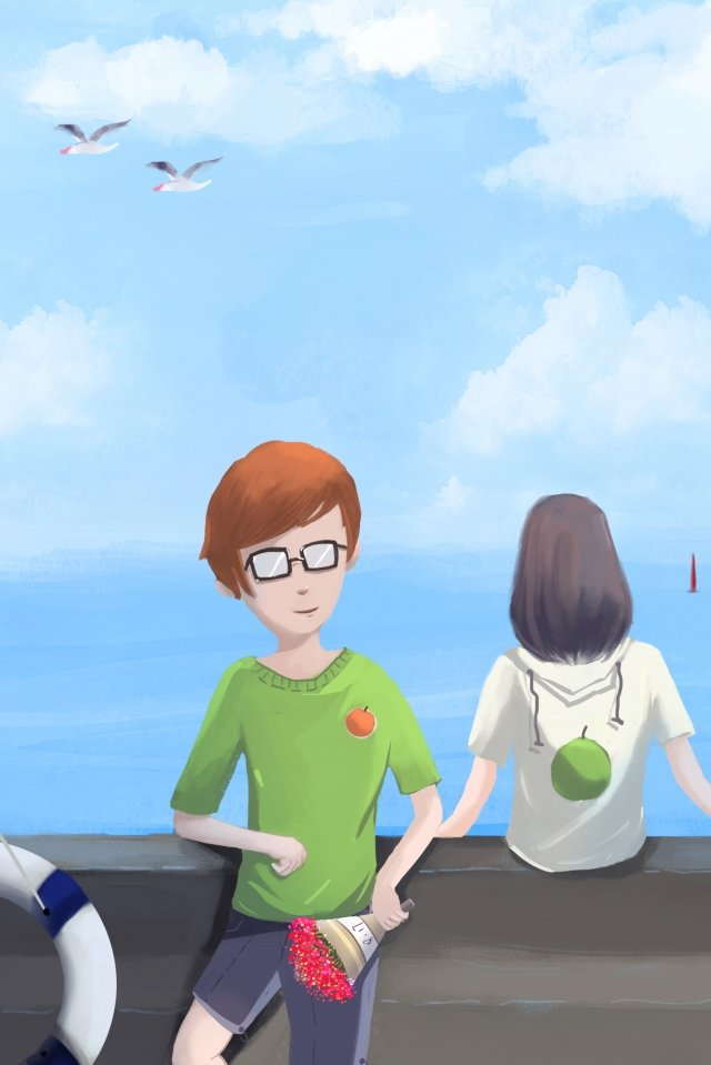 tanabata海邊夏季吹風機 插畫素材 插畫圖片