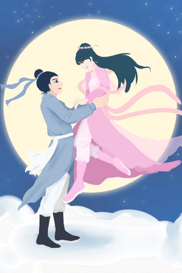 Ilustração romântica da menina do tecelão de Qixi Niu Lang Tanabata Ilustração Tanabata Cowherd Tecelão Amor Amor verdadeiro Moon Cloud Namoro RomânticoIlustração  Romântica  Da PNG E PSD illustration image