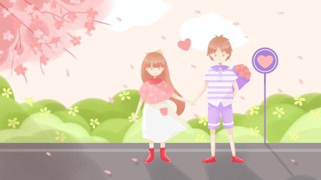 tanabata情人節情侶約會 插畫素材
