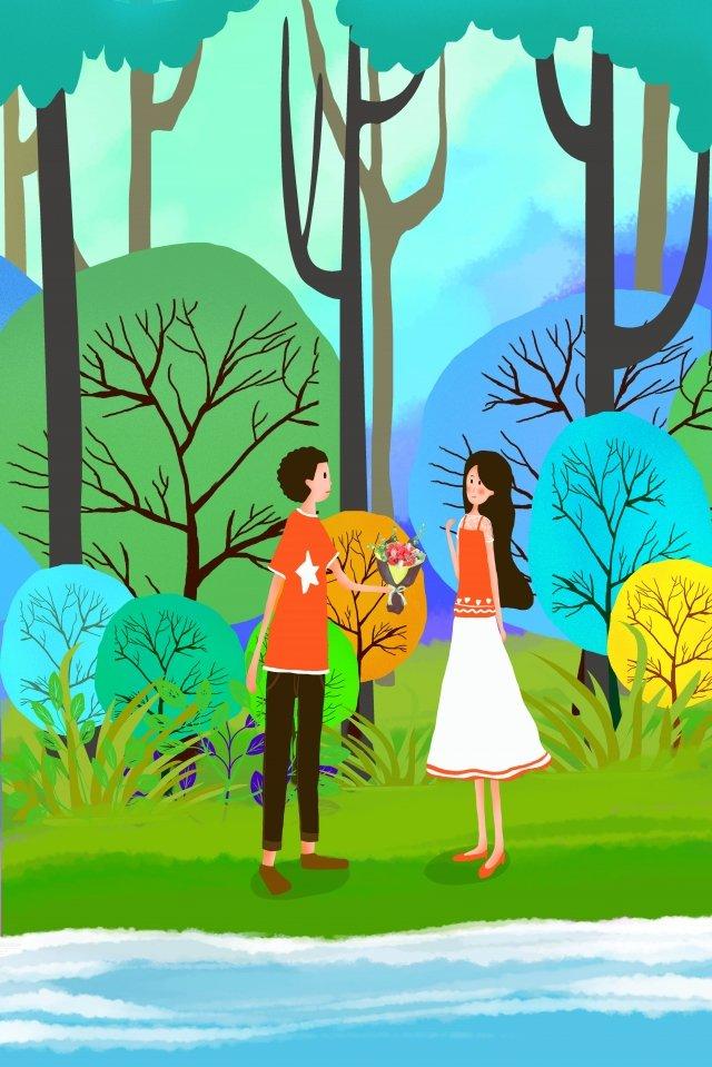 tanabata情人節情侶湖畔 插畫素材 插畫圖片