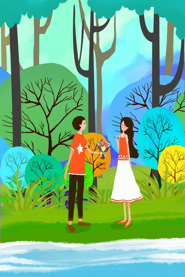 tanabata valentines day couple lakeside llustration image