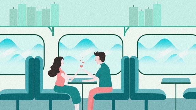 tanabata情人節情侶火車 插畫素材