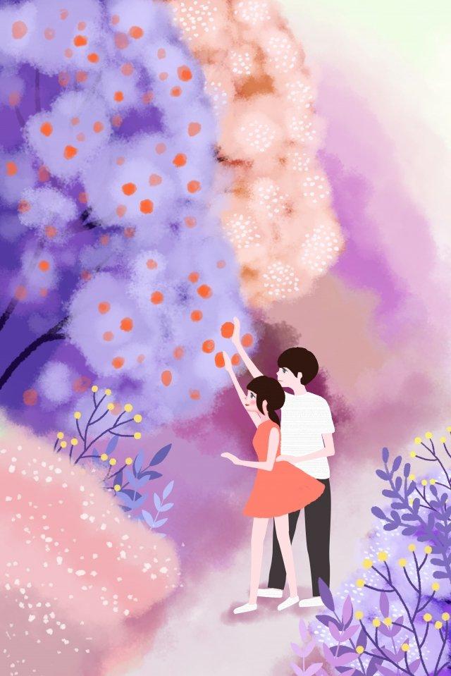 tanabata情人節森林夫婦 插畫素材 插畫圖片