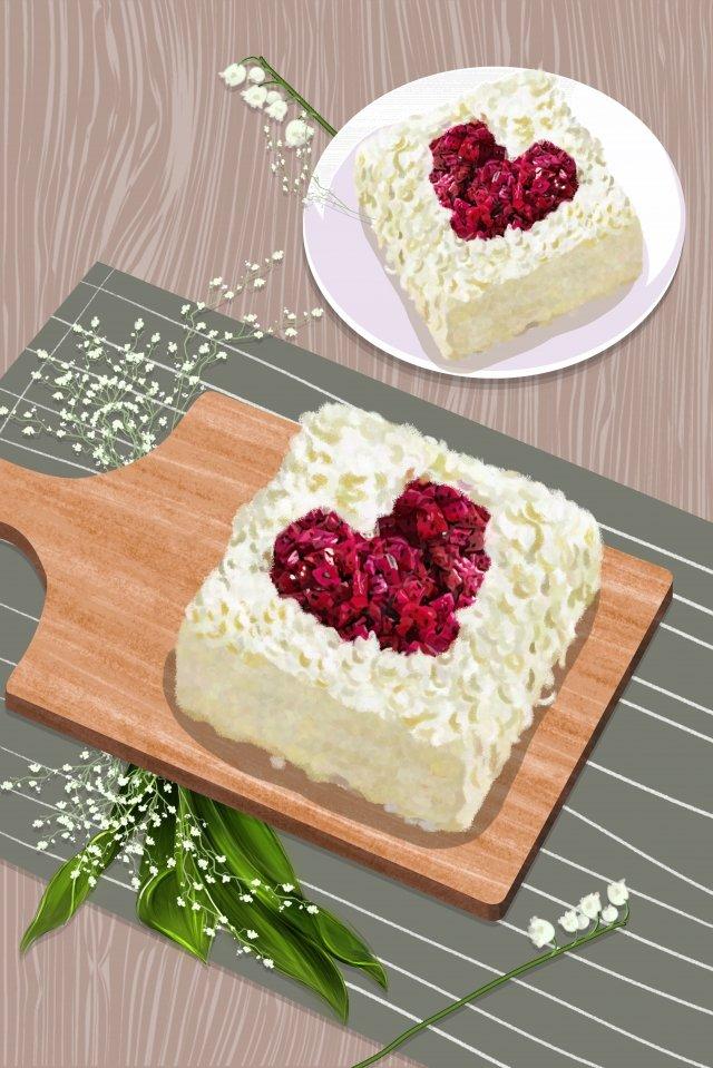 七夕バレンタインデーハート型ケーキ イラスト素材