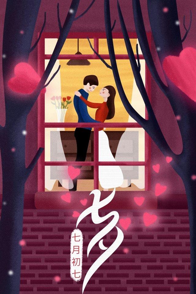 tanabata情人節例證浪漫 插畫素材
