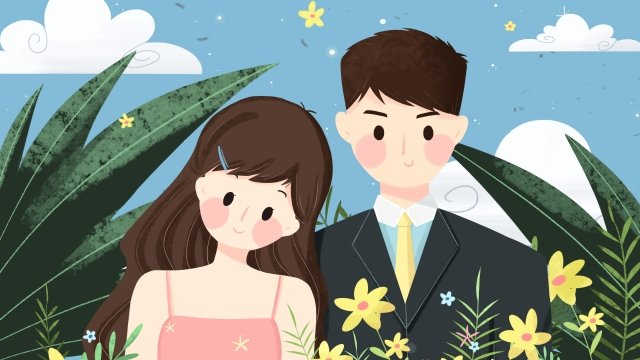 tanabata valentines day lover couple, In Love, Love, Flowers illustration image