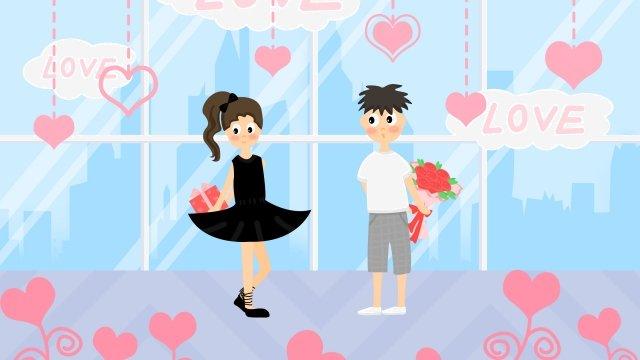 tanabata情人節浪漫懺悔 插畫素材