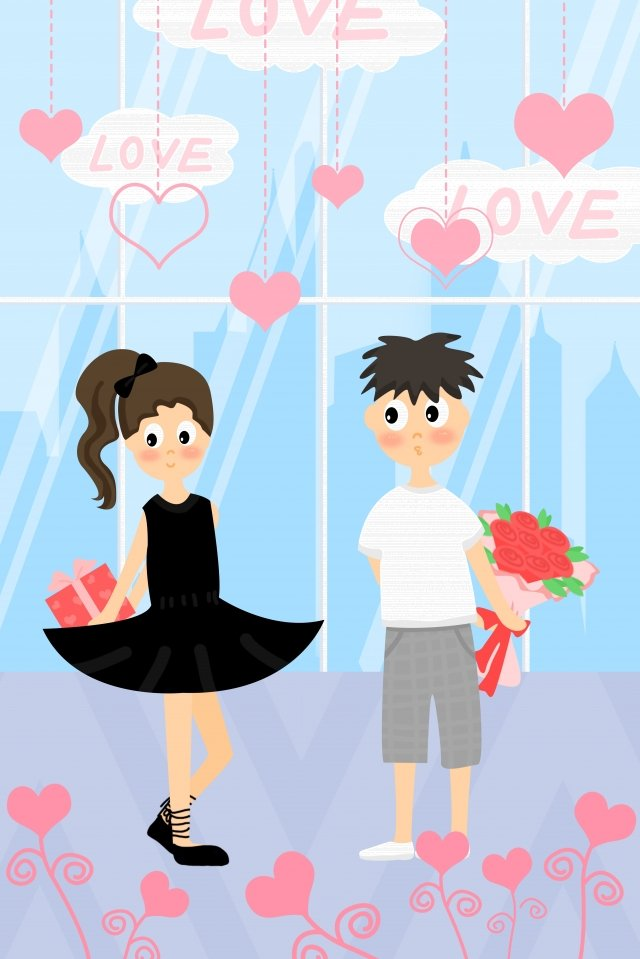 tanabata valentines day romantic confession, Appointment, Gift, Couple illustration image