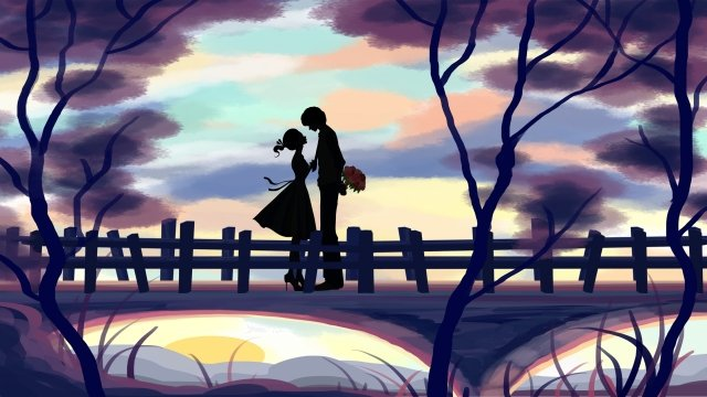 tanabata valentines day tree couple, Illustration, Beautiful, Lover illustration image