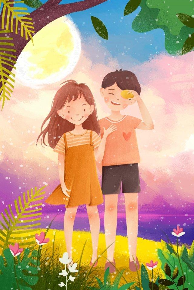 tanabata情人節樹夫婦 插畫圖片