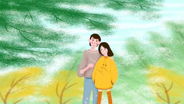 tanabata valentines day under the tree couple, Illustration, Beautiful, Lover illustration image
