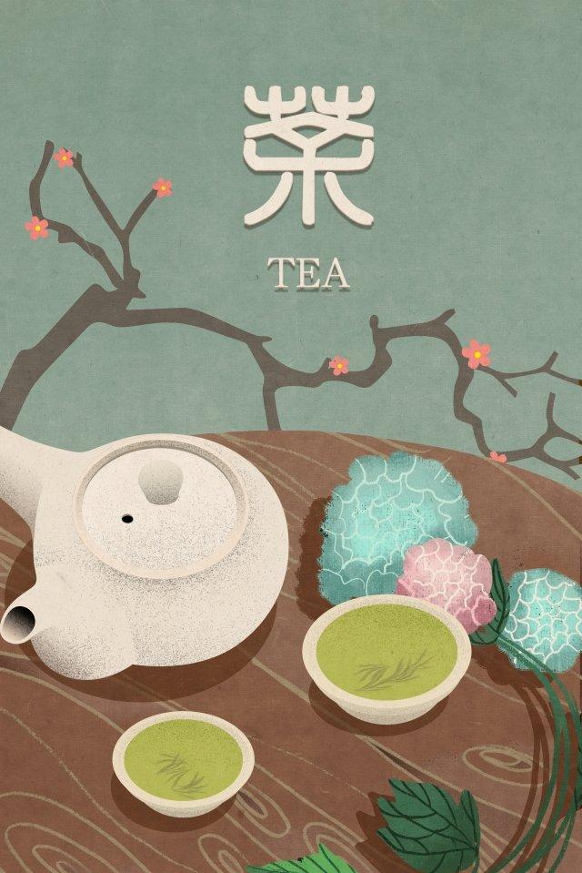 tea lamei national wind classical illustration image