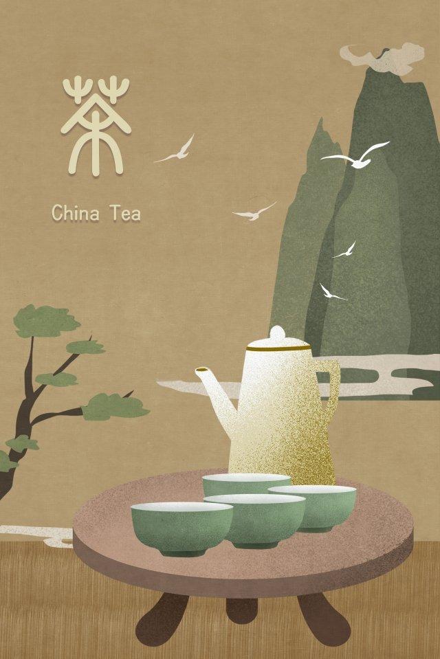 tea set far mountain national wind classical llustration image illustration image