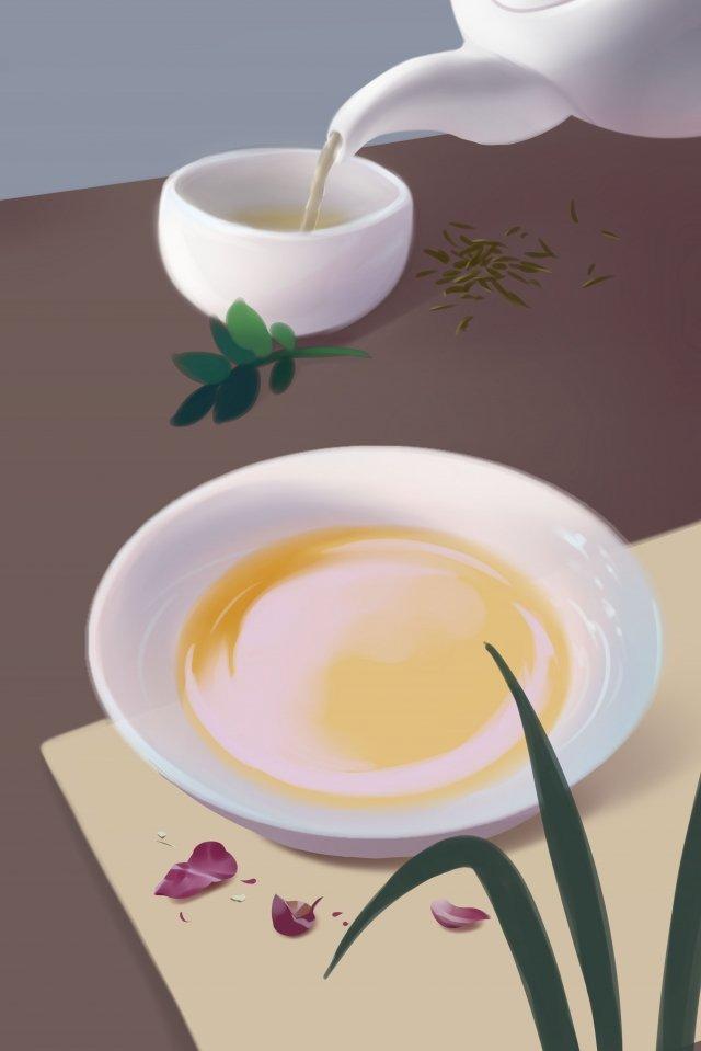 tea set tea set pour tea illustration, Senior, Gray, Illustration illustration image