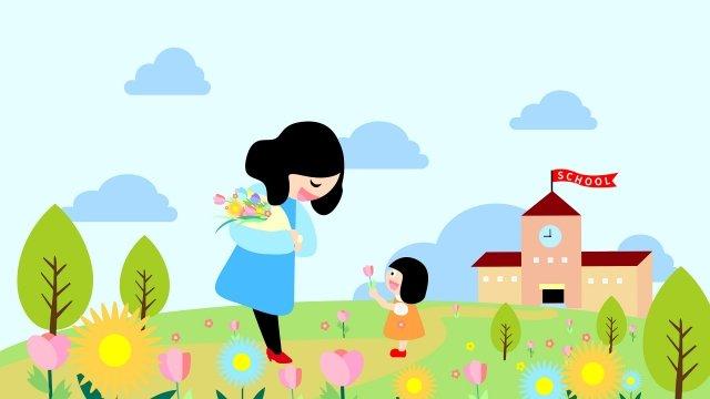 教師の日9月10日花を送る漫画 イラストレーション画像 イラスト画像