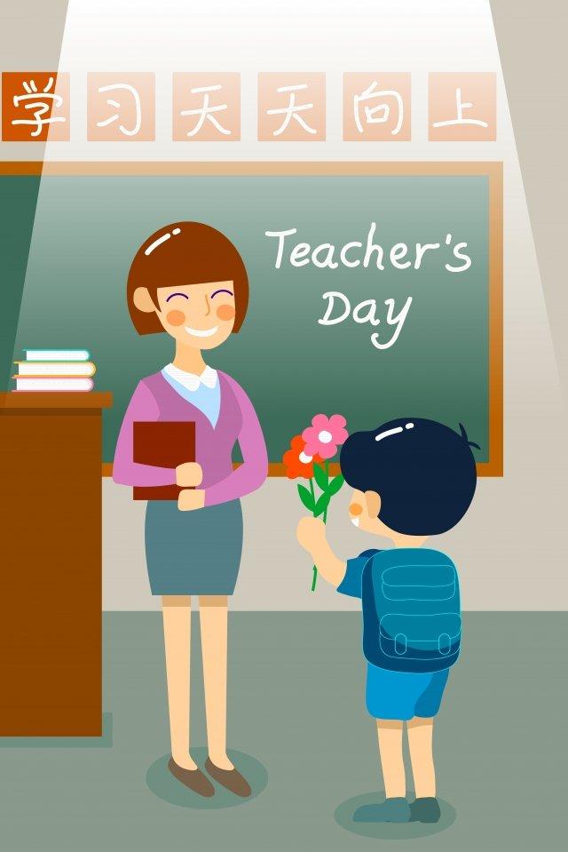 शिक्षक दिवस धन्यवाद फूल छात्र चित्रण छवि