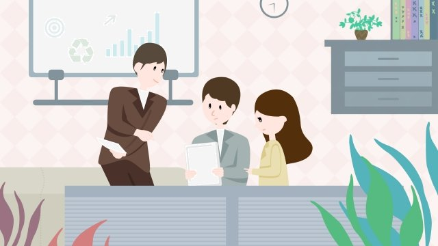 team cooperation business office, Staff, Hand Painted, Illustration illustration image