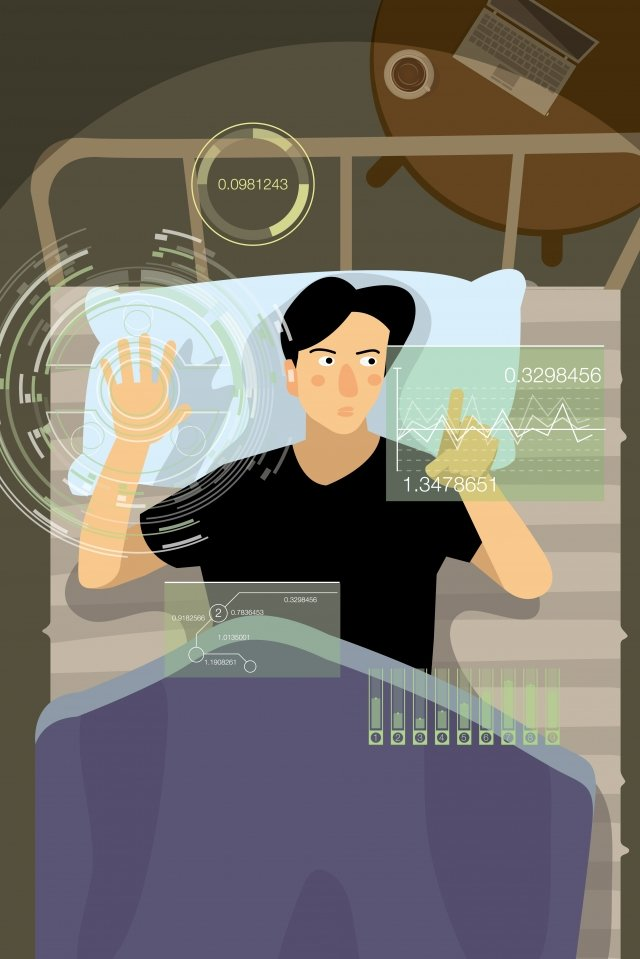 technology artificial intelligence touch screen electronic, Bedroom, Office, White Collar illustration image