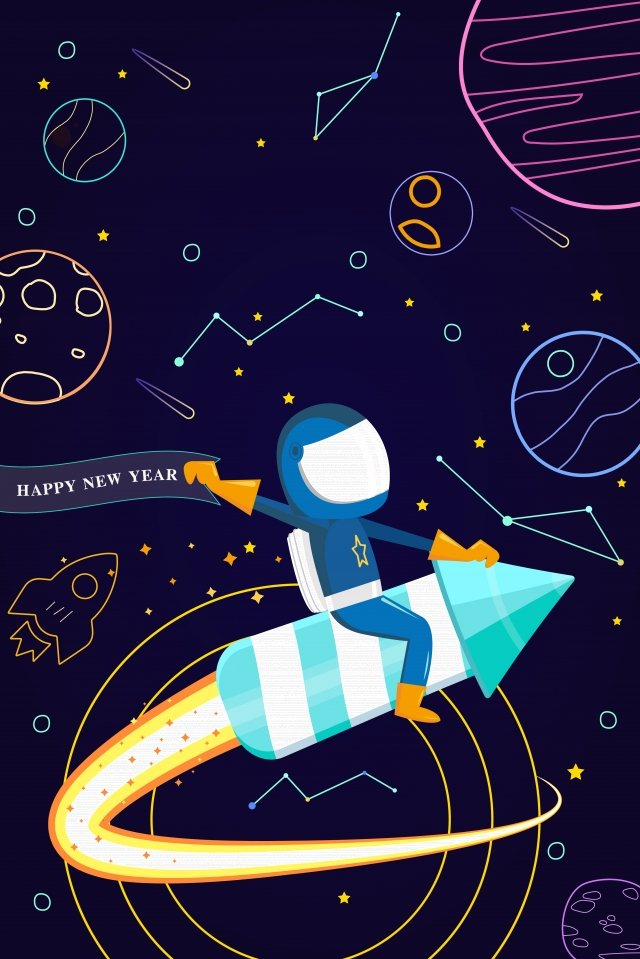 technology concept astronaut universe, Outer Space, Spaceship, Happy New Year illustration image