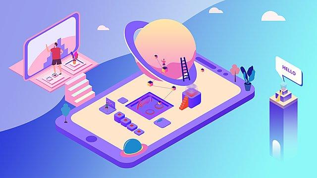 tecnologia ad alta tecnologia viola 2 5d plug Immagine dell'illustrazione