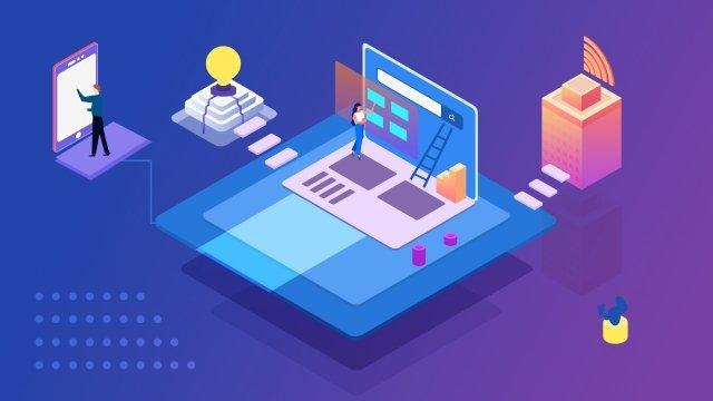 ilustracja technologii high tech komputer fioletowy obraz llustration