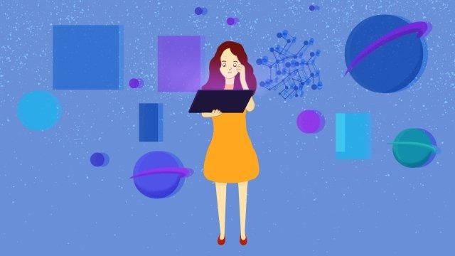 technology intelligent hand drawn illustration girl, Blue, Computer, Blue Screen illustration image
