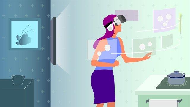 technology intelligent vr kitchen llustration image