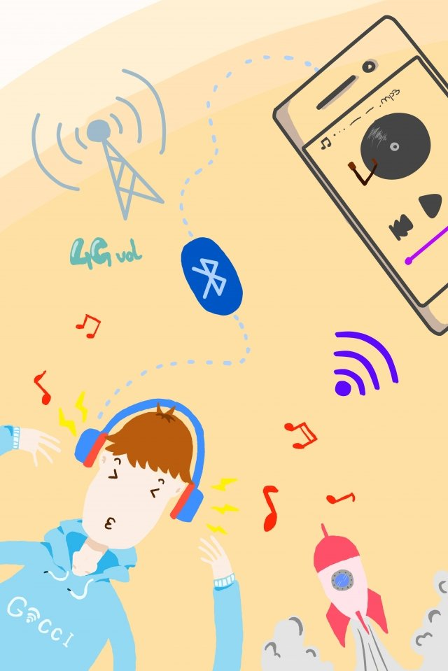 technology mobile phone icon bluetooth, Music, Light Color, Child illustration image