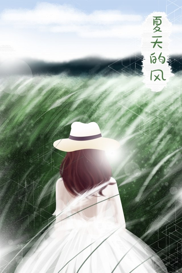 teenage girl back view blue sky white clouds, Reed, Green, Hand Painted illustration image