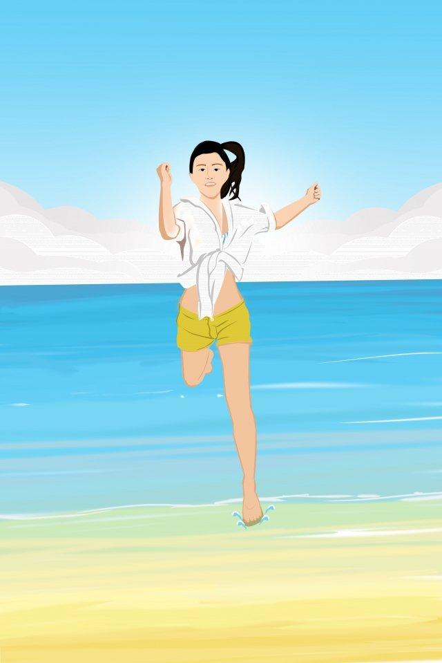 teenage girl beach seaside beach, Yellow, Blue, Cartoon illustration image