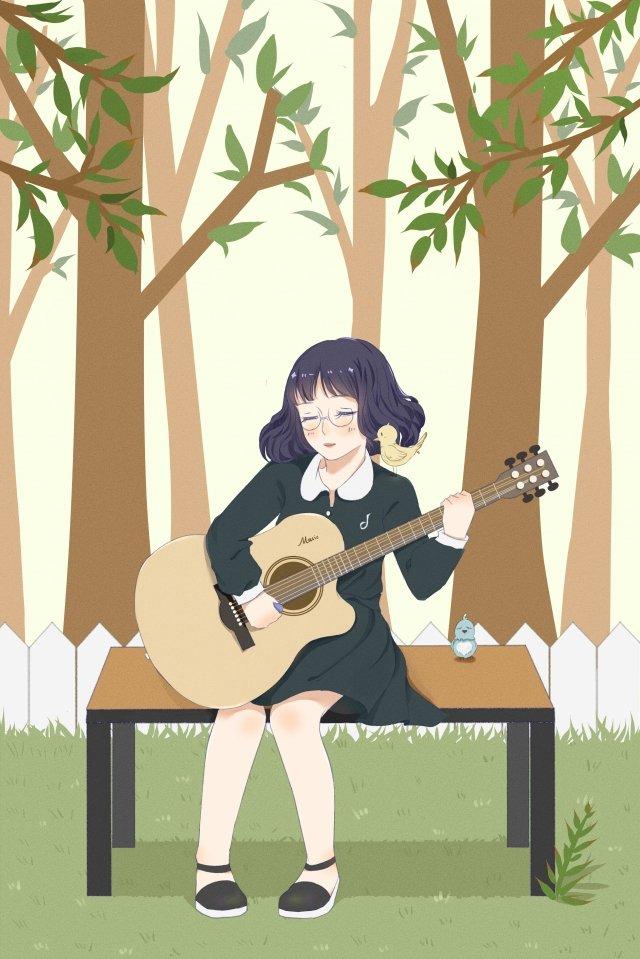 十幾歲的女孩女孩吉他樂器 插畫素材