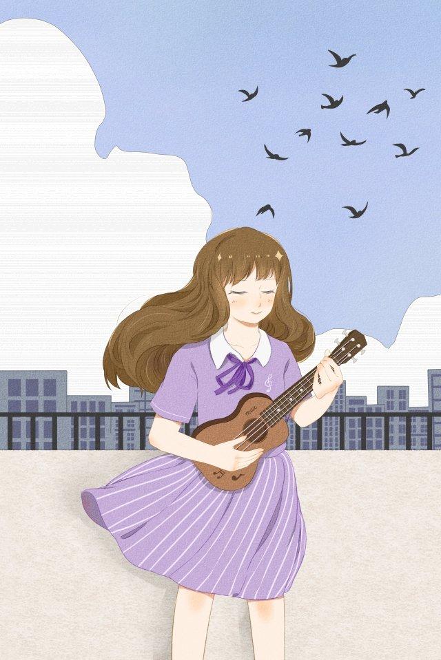 少女女孩屋頂天空 插畫素材 插畫圖片
