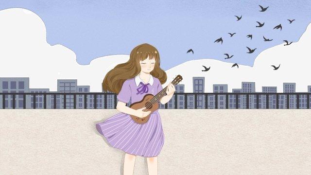10代の少女少女屋上空 イラスト素材 イラスト画像