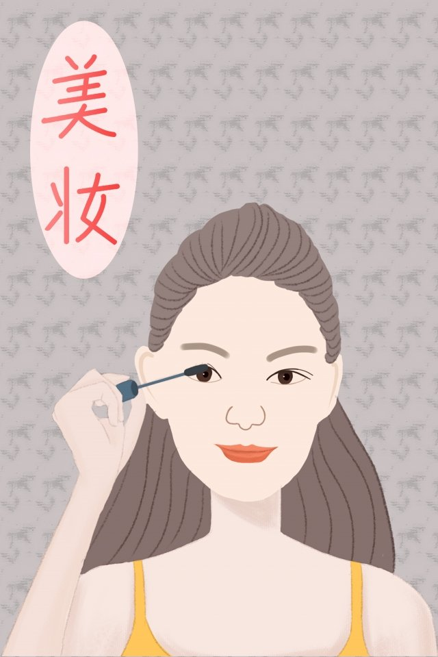 teenage girl make up hand drawn illustration beautiful and fresh, Literary, Literary Series, Eyebrow Pencil illustration image