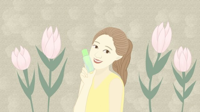 teenage girl make up hand drawn illustration fresh and beautiful, Skin Care, Petal, Green Bottle illustration image