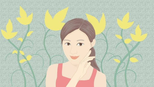 teenage girl make up hand drawn illustration skin care, Petal, Beautiful, Literary illustration image