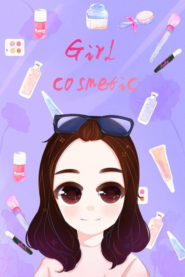 十幾歲的女孩化妝女孩化妝品 插畫素材 插畫圖片