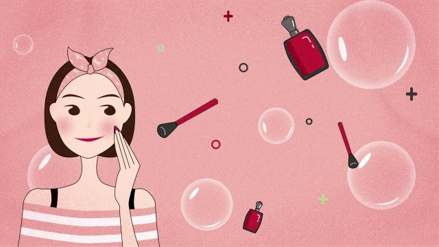 teenage girl makeups horizontal map pink llustration image