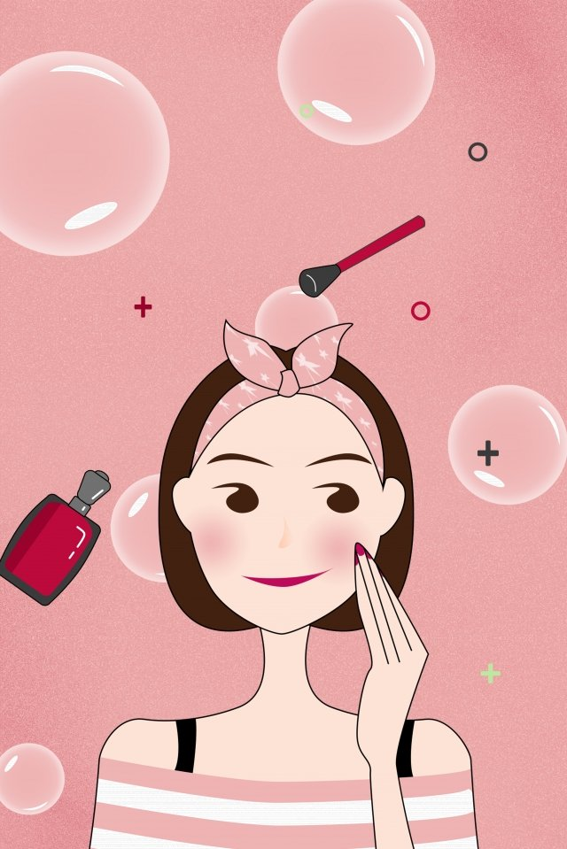 teenage girl makeups vertical map pink, Bubble, Dream, Perfume illustration image
