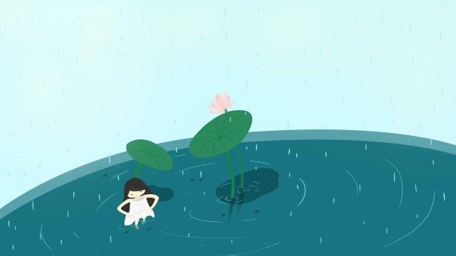 10 대 소녀 여름 로터스 연못 로터스 삽화 소재