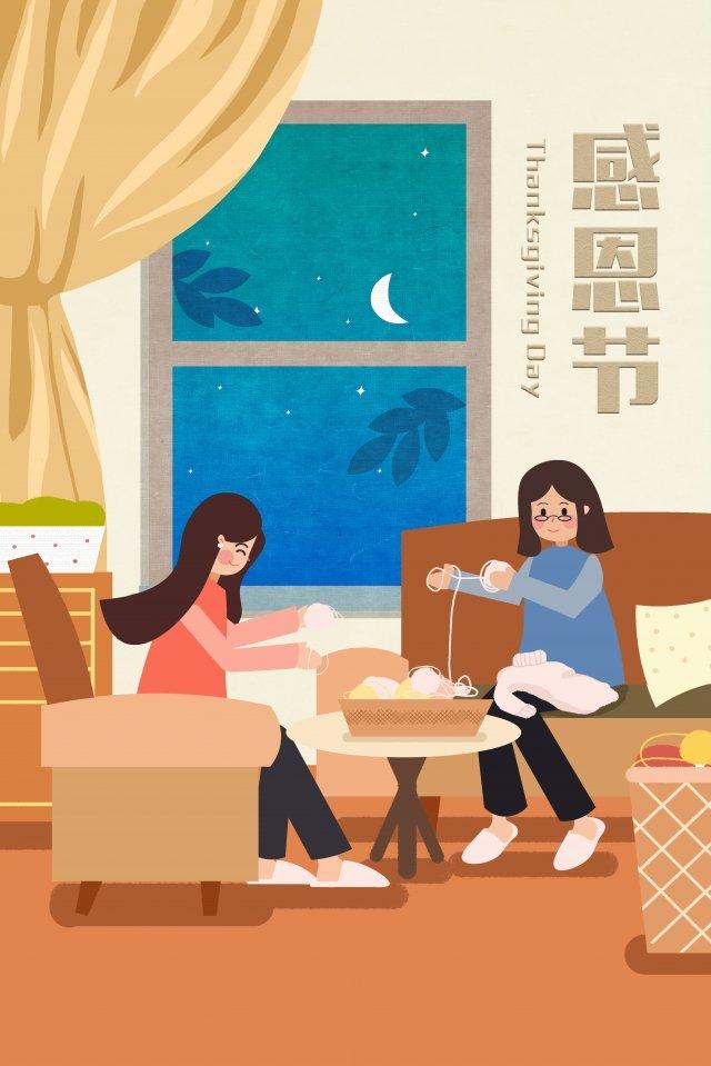 추수 감사절 어머니 스웨터 따뜻한 뜨개질을 동반 삽화 소재 삽화 이미지