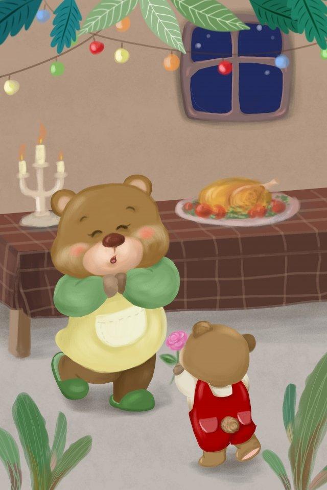 추수 감사절 곰 어머니 곰 꽃 보내다 삽화 소재 삽화 이미지