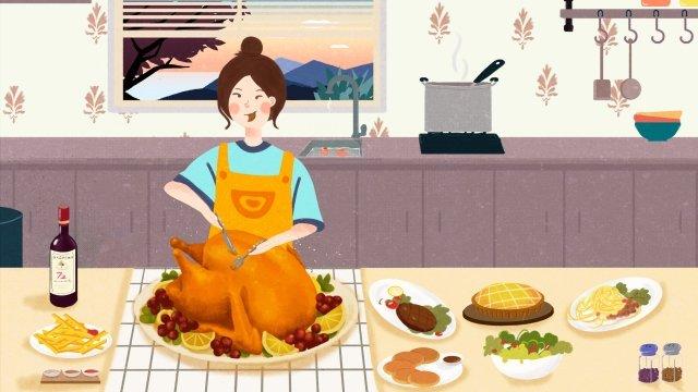 추수 감사절 먹을 일몰 서양 음식 삽화 소재