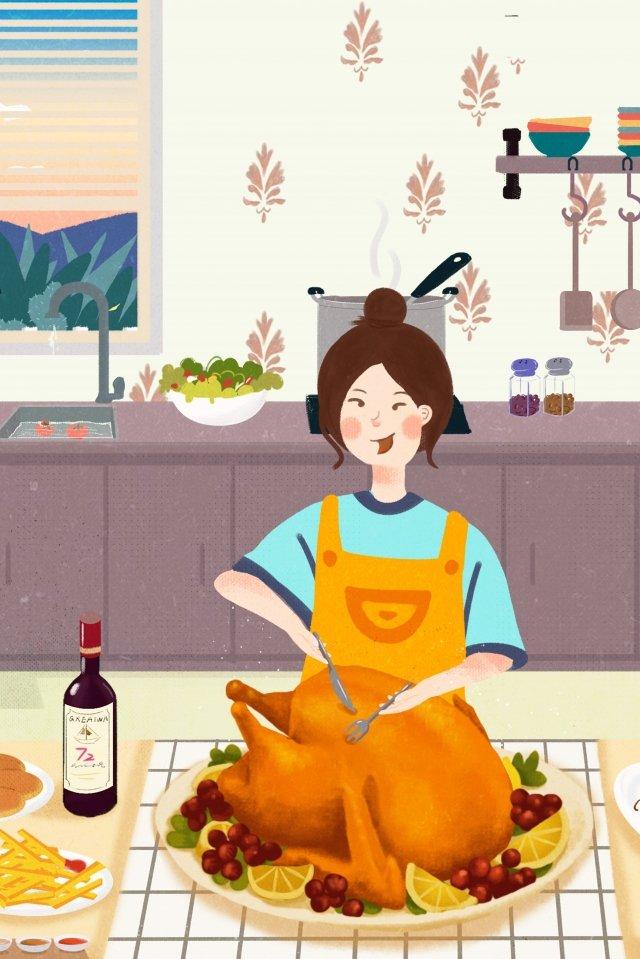추수 감사절 먹을 일몰 서양 음식 삽화 소재 삽화 이미지