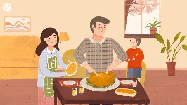 추수 감사절 가족 저녁 칠면조 음식 삽화 소재 삽화 이미지