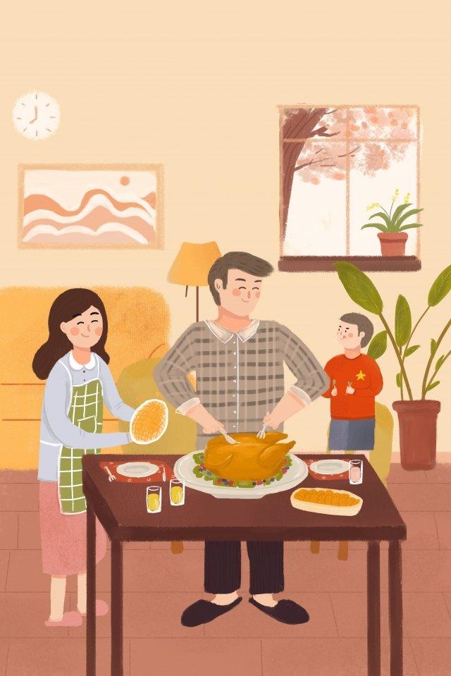 추수 감사절 가족 저녁 칠면조 음식 삽화 소재